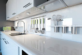 3d image of a modern white kitchen clean interior design