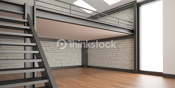 3d Interior Rendering Industrial Mezzanine Space And Wood Floor ...