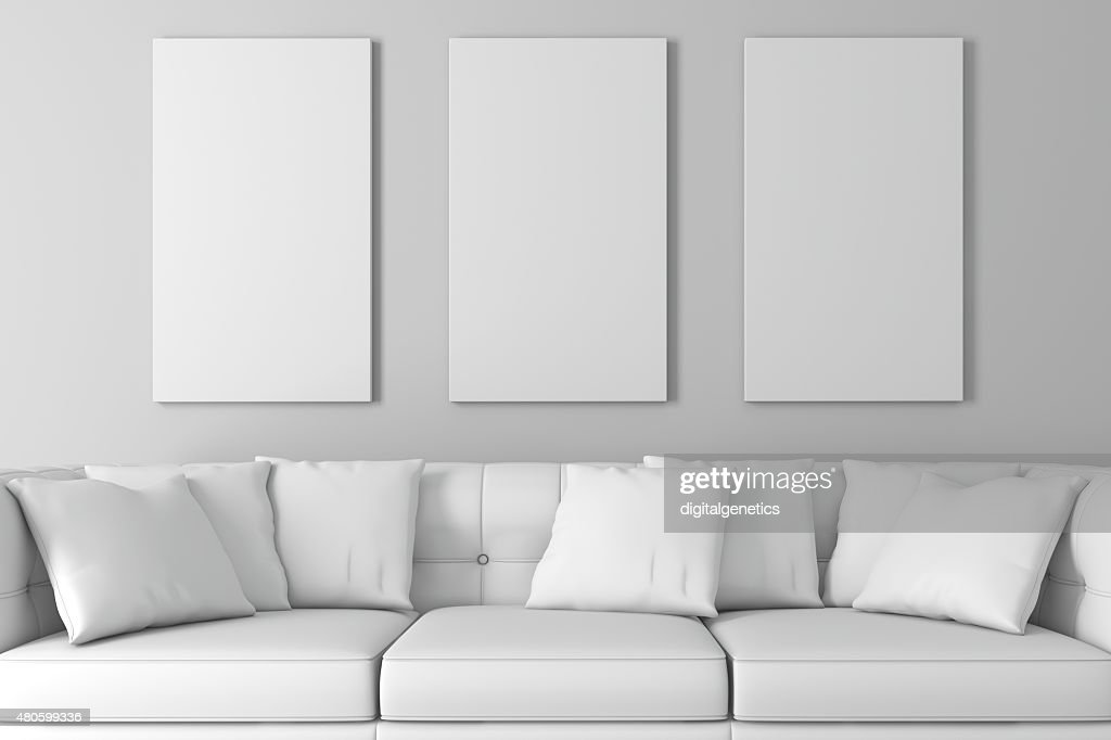 3d interior  with a blank frames and wooden floor : Stock Photo