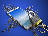 3d illustration of white phone over blue background with electronic circuit and iron lock