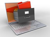 3d illustration of laptop over white background with red screen and archive
