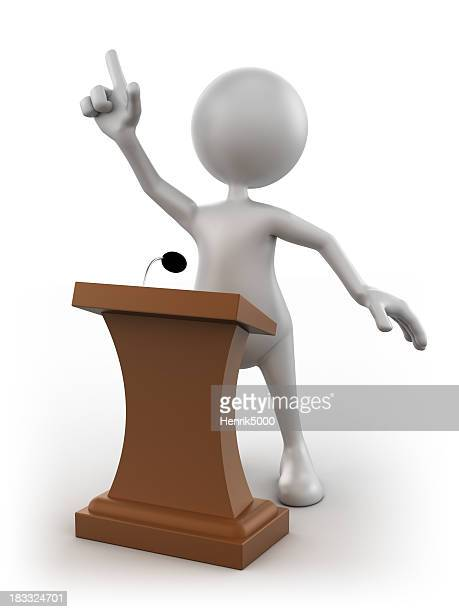 3d Man at the podium giving speech, isolated/clipping path