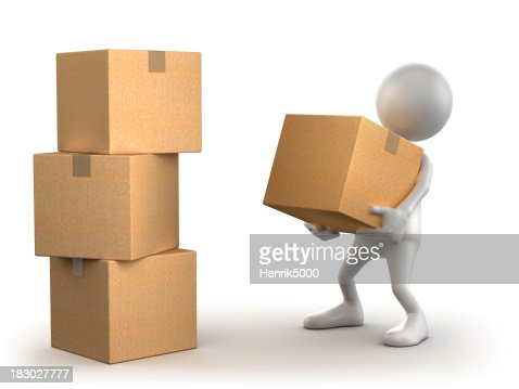 3d man carrying cardboard box isolated with clipping path stock photo getty images. Black Bedroom Furniture Sets. Home Design Ideas
