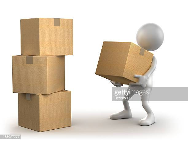 3d Man carrying cardboard box, isolated with clipping path