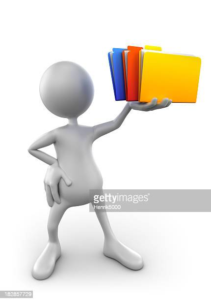 3d Man holding file folders - isolated with clipping path