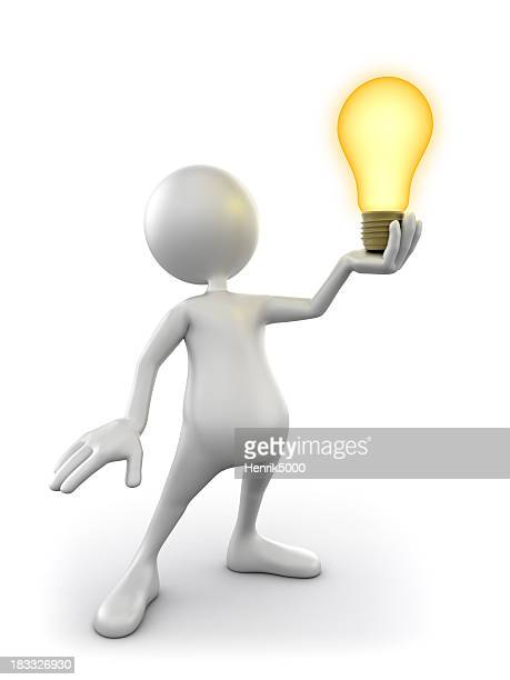 3d Man holding idea lightbulb, isolated w. clipping path