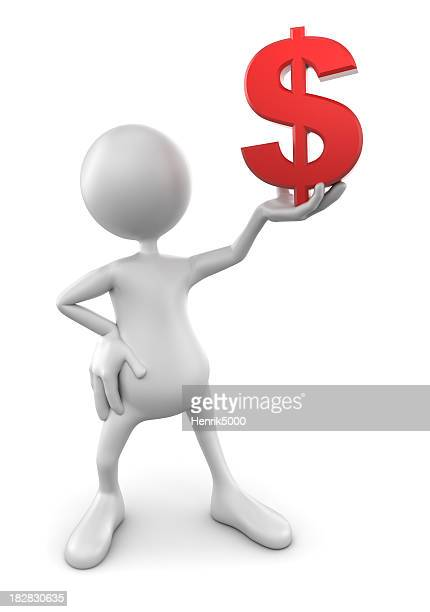 3d Man holding up dollar sign, isolated with clipping path