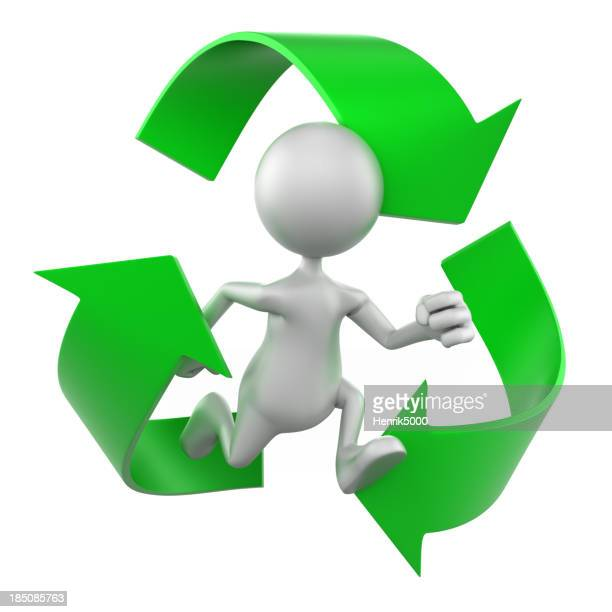 3 d Mann mit Recycling symbol isoliert mit clipping path