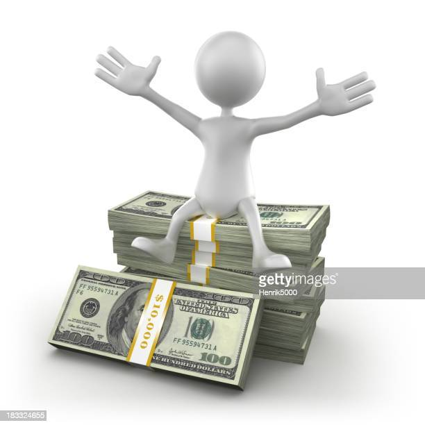 3d Man sitting on $100 bills, isolated/clipping path