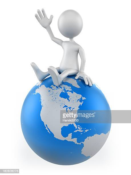 3d Man sitting on earth globe, isolated with clipping path
