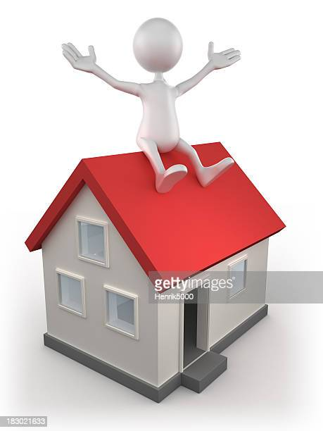 3d Man sitting on house, isolated with clipping path