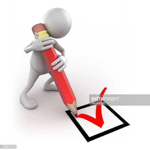 3d Man ticking box with big pencil, isolated/clipping path