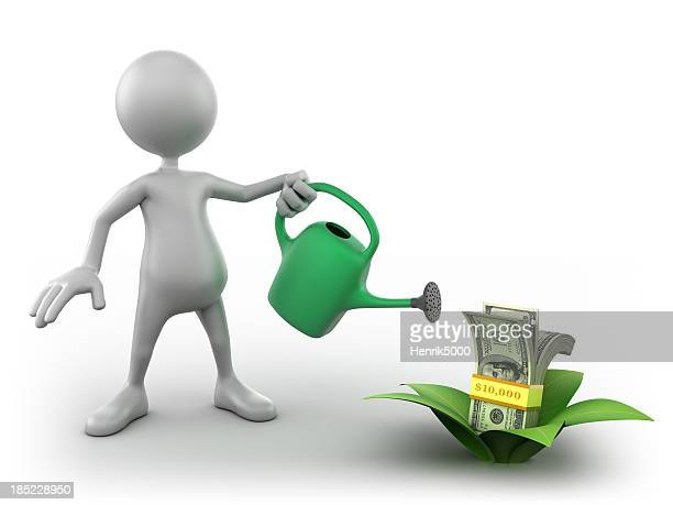 3d Man watering growing dollar bills, isolated with clipping path