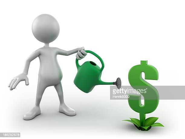 3d Man watering growing dollar sign, isolated with clipping path