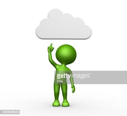 3 d uomo con una nuvola sopra la testa : Foto stock