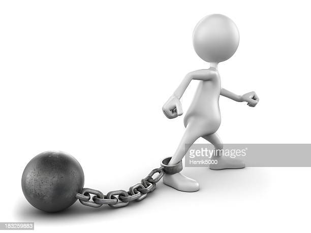 3d Man with ball and chain, isolated w. clipping path
