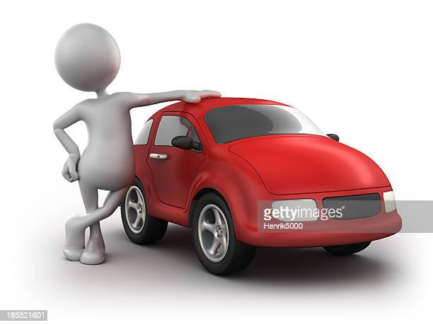 3d Man with car, isolated w. clipping path