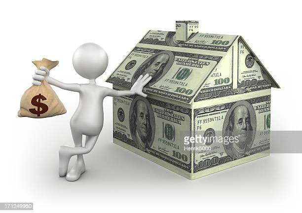 3d man with dollar bag and money home, isolated/clipping path