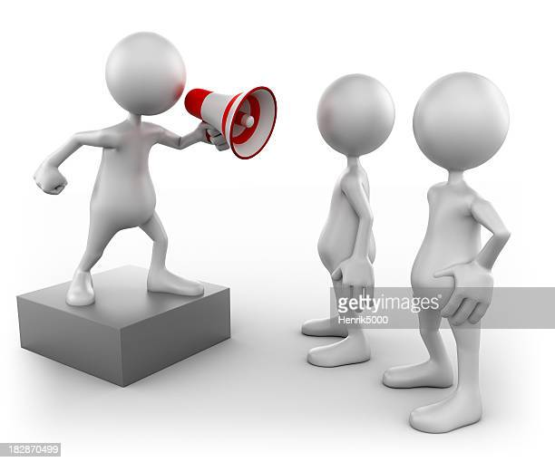 3d Man with megaphone and audience, isolated w. clipping path