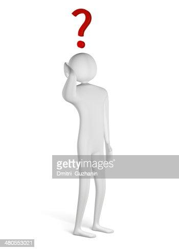 Hombre 3D con signo de interrogación encima de la cabeza : Foto de stock