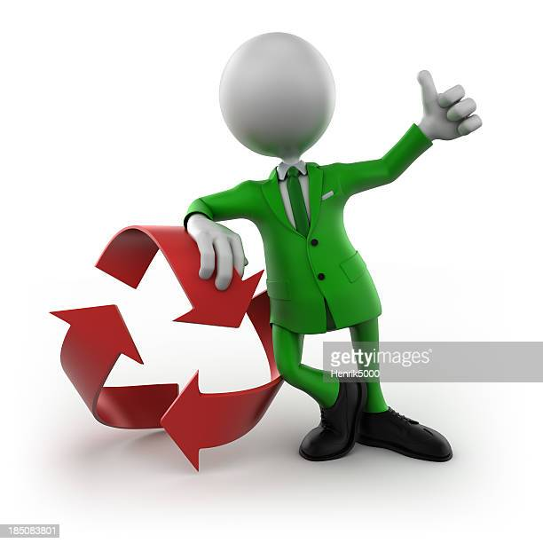 3 d Mann mit Recycling symbol isoliert/clipping path