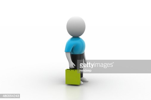 3d man with shopping bag : Stock Photo