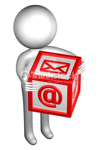 3d Man With With Signs Envelope Phone Email Stock Photo - Thinkstock