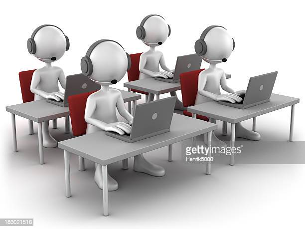 3d Men at support desk, isolated with clipping path