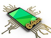 3d illustration of mobile phone over white background with electronic circuit and 64 bit sign