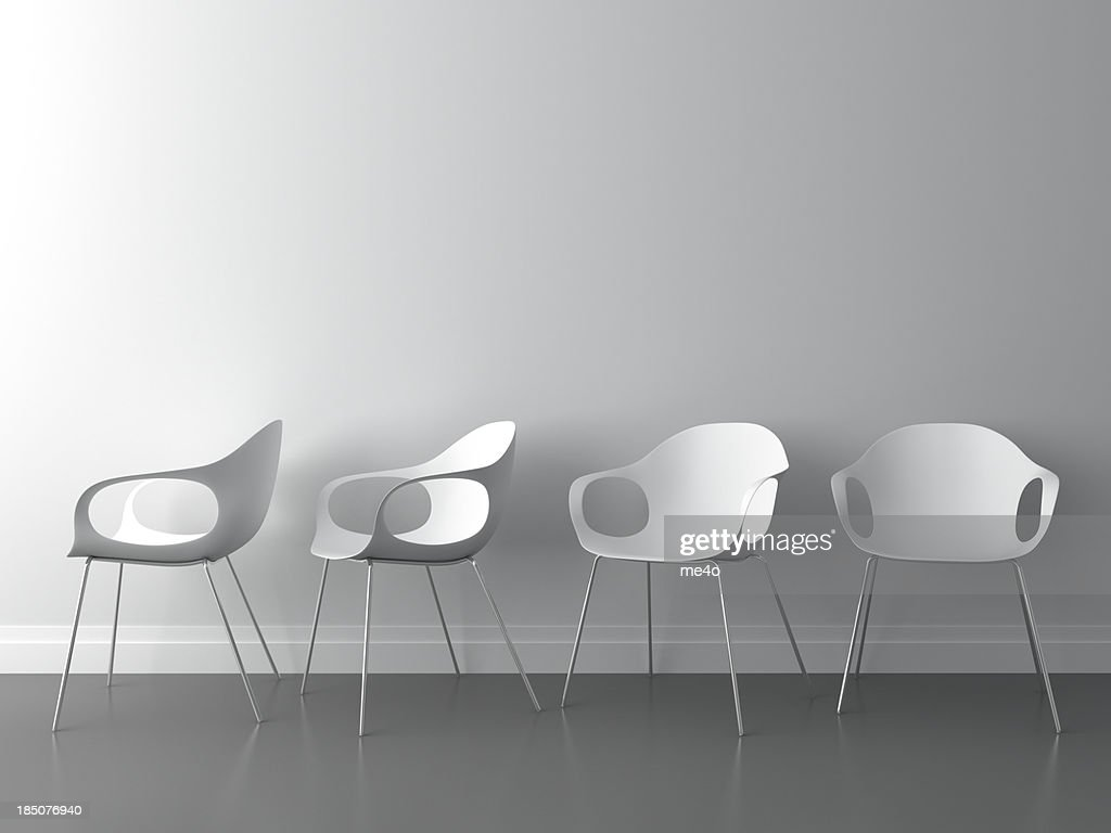 3d modern chair on white wall : Stock Photo