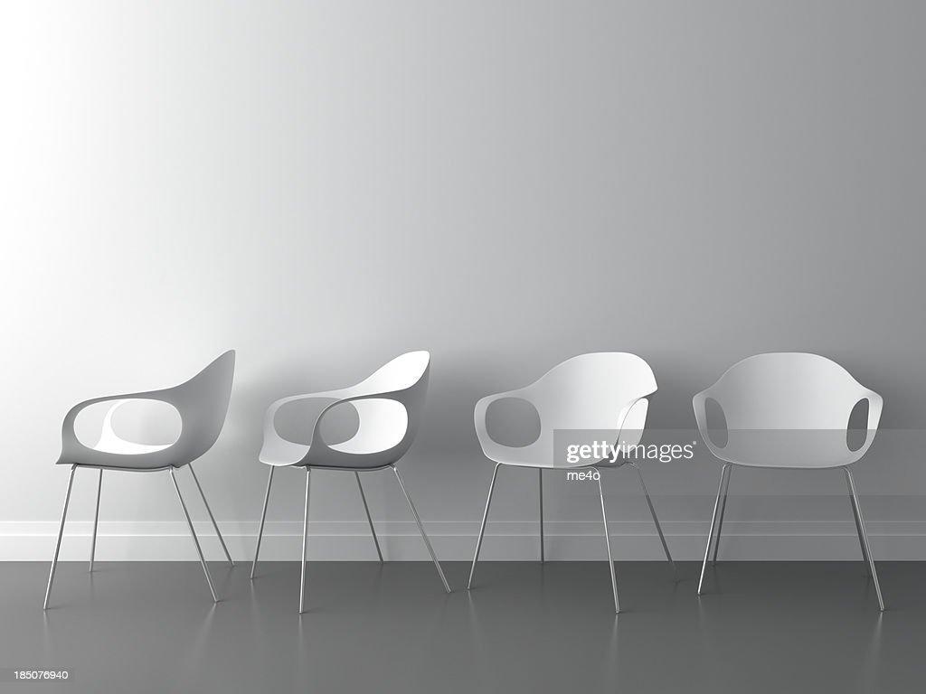3 d moderner Stuhl auf weiße Wand : Stock-Foto