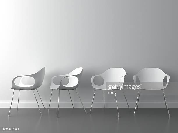 Fauteuil moderne 3D sur murs blancs