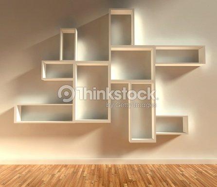 3d Modern Interior Empty Shelf Stock Photo Thinkstock
