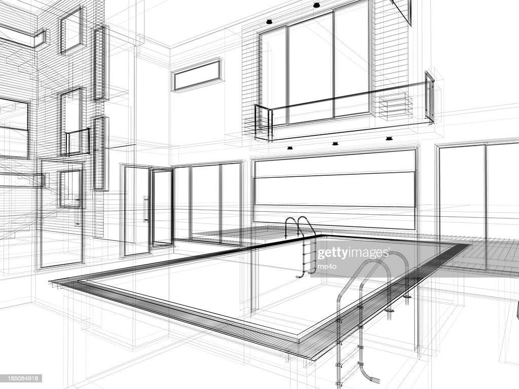 3d modern interior with swimming pool in wire frame layout for Swimming pool sketch