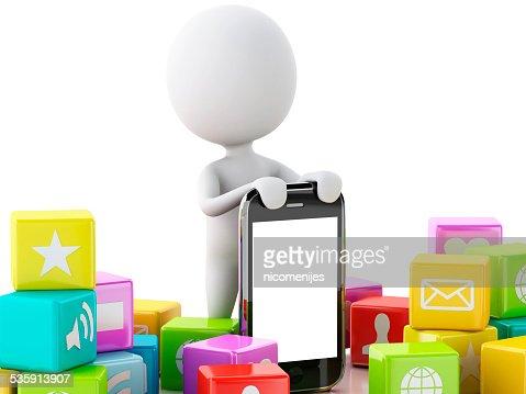 3 d pessoas com telefone móvel e ícones da aplicação : Foto de stock