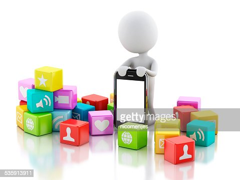 3d people with mobile phone and app icons : Stock Photo