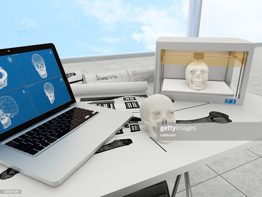 3d printed skull : Stock Photo