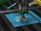 "3D printer printing text ""3d""."