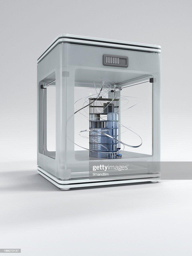 3d printer printing a building : Stock Photo