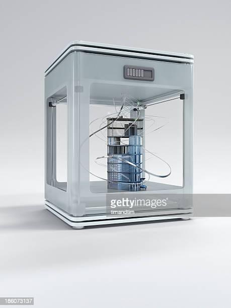 3d printer printing a building