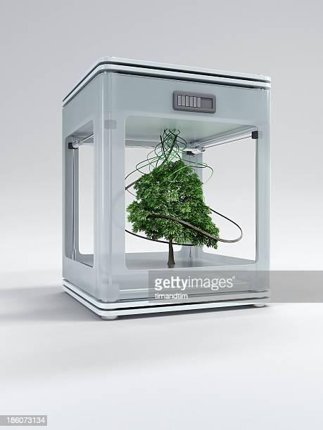 3d printer printing a tree