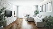 Realistic illustration 3d render of a living room