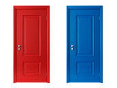 3d red and blue doors on white background