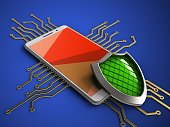3d illustration of white phone over blue background with electronic circuit and shield
