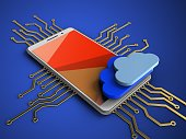 3d illustration of white phone over blue background with electronic circuit and clouds