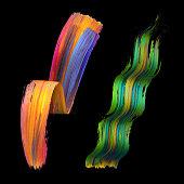 3d render, abstract artistic brush strokes set, red green paint smear, splash, colorful curl, spectrum palette, splatter, curvy ribbon