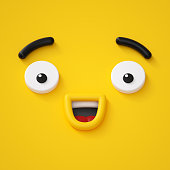 3d render, abstract emotional happy face icon, wondering character illustration, cute cartoon monster, emoji, emoticon, toy