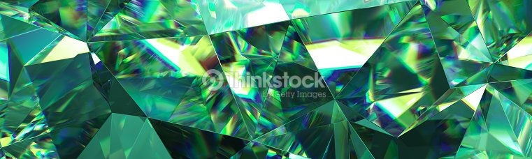 3d Render Abstract Green Crystal Background Faceted Texture Emerald Gem Macro Panorama Wide Panoramic Polygonal Wallpaper