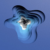 3d render, abstract layered blue background, paper cut shapes