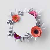 3d render, abstract paper flowers, floral background, blank round frame, greeting card template